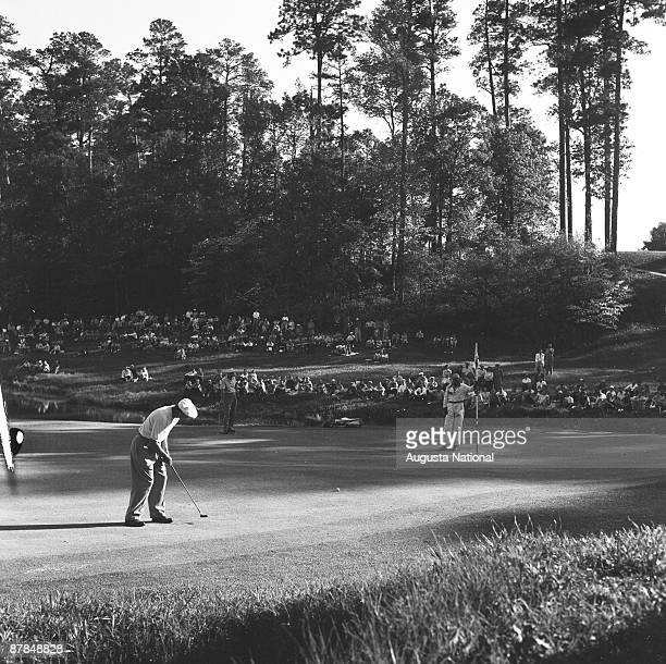 Ben Hogan putts during a 1950s Masters Tournament at Augusta National Golf Club in April in Augusta Georgia