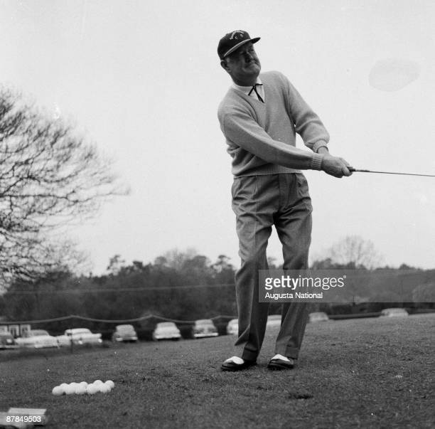 Byron Nelson practices during a 1950s Masters Tournament at Augusta National Golf Club in Augusta Georgia
