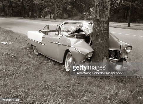1950s convertible crashed stock photo getty images