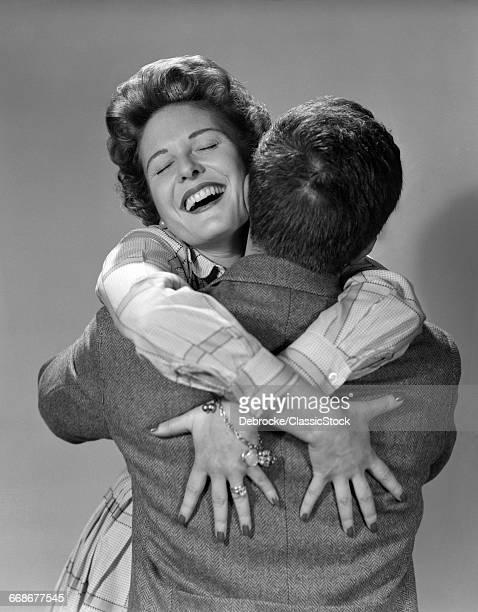 1950s COUPLE MAN AND HAPPY...