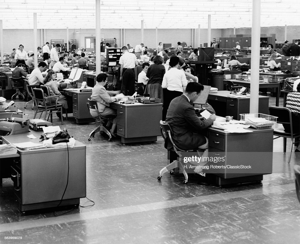 1950s LARGE OPEN OFFICE... : Stock Photo