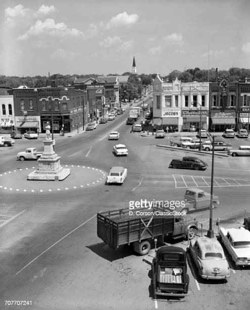 1950s MAIN STREET OF SMALL...