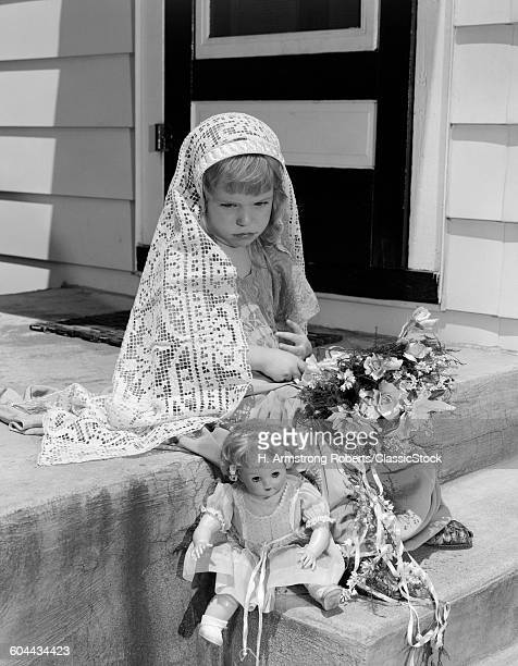 1950s SAD LITTLE GIRL IN.