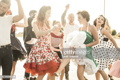 1950s Style People Dancing Outside