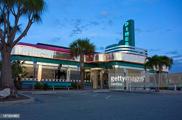 1950s Style Roadside Diner in Florida at Dawn