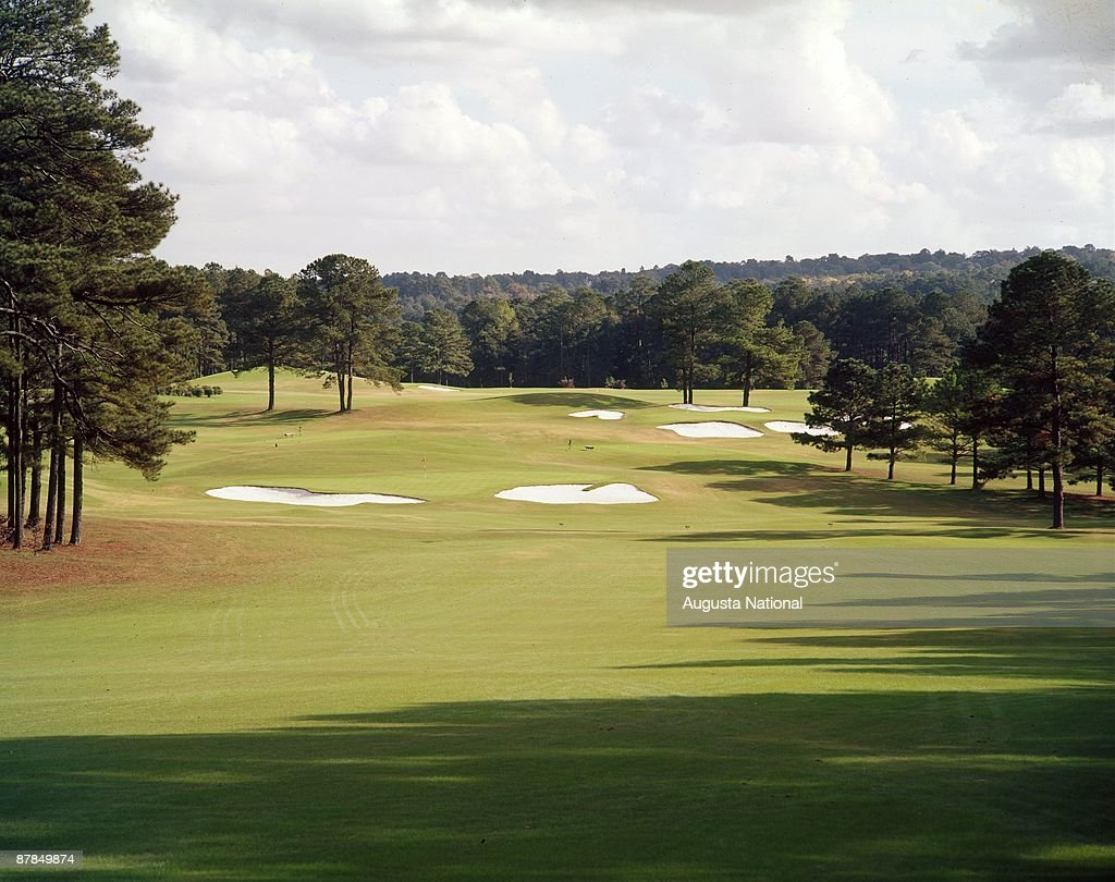 The 2nd hole during a 1950s Masters Tournament at Augusta National Golf Club in Augusta Georgia