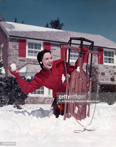 1950s WOMAN HIDING BEHIND...
