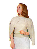 1950s woman modelling a cashmere sweater set screen print from a photograph 1958