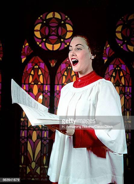 1950s WOMAN SINGING CHOIR...