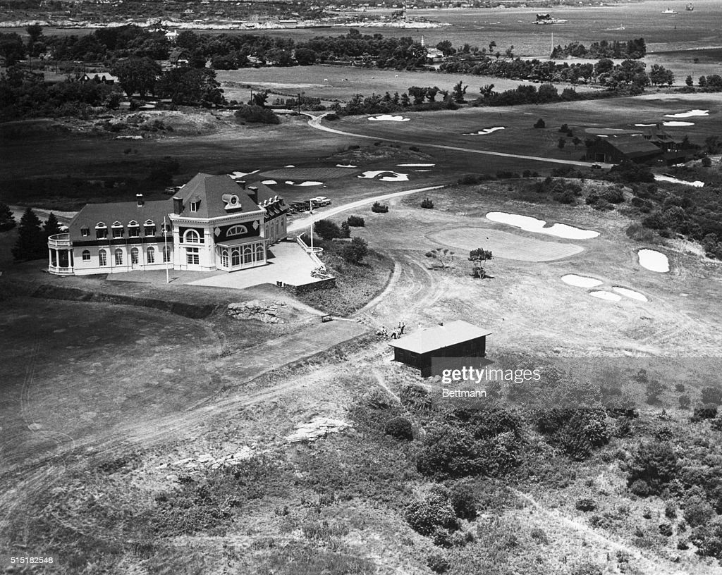 1957Newport RI Aerial view of Newport Country Club one of the oldest golf courses in America The first National Amateur Golf Championship was held...