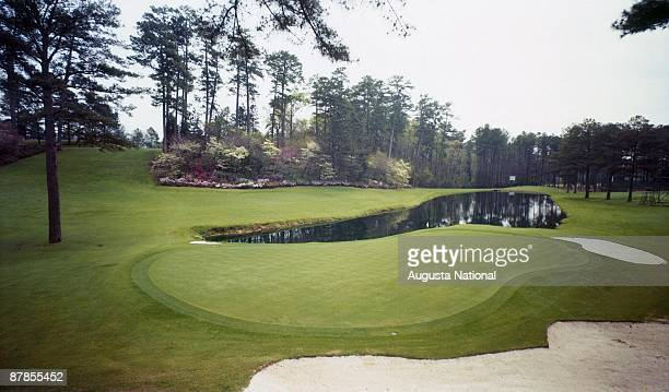 A general view of the 16th hole from behind the green at Augusta National Golf Club in the 1960s in Augusta Georgia