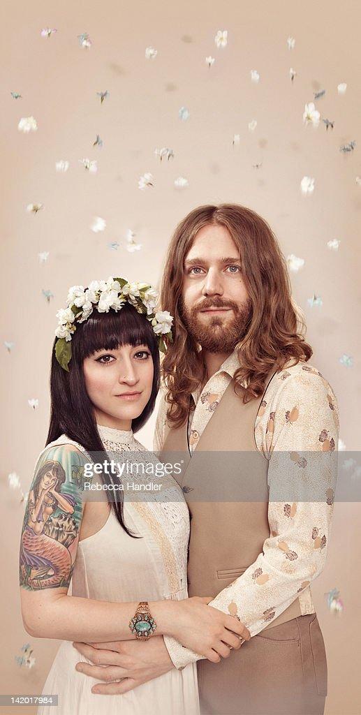 1960s couple engagement portrait : Stock Photo