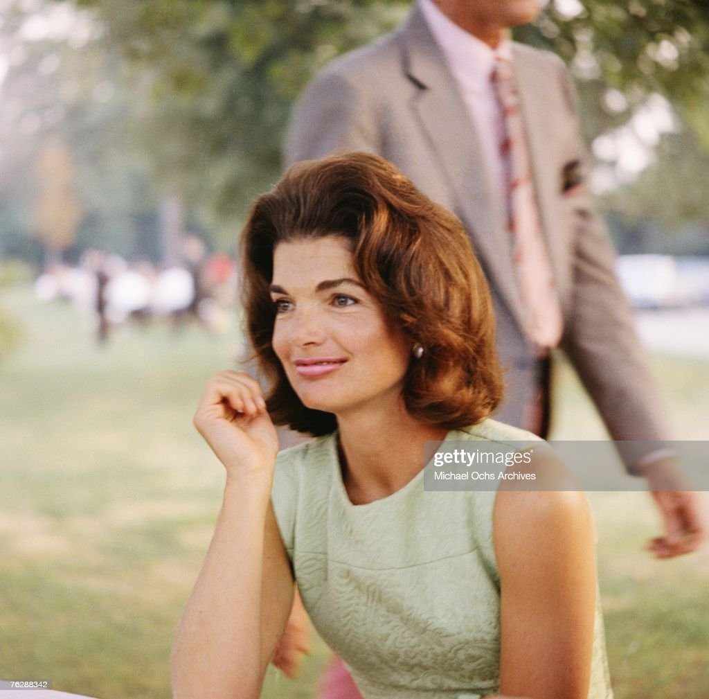 Former First Lady <a gi-track='captionPersonalityLinkClicked' href=/galleries/search?phrase=Jacqueline+Kennedy&family=editorial&specificpeople=70028 ng-click='$event.stopPropagation()'>Jacqueline Kennedy</a> enjoys herself at a picnic circa the 1960s.