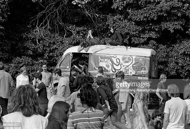 1960s GATHERING OF HIPPIE...
