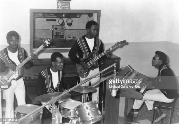 Reggae band 'The Upsetters' record during a session in the late 1960's