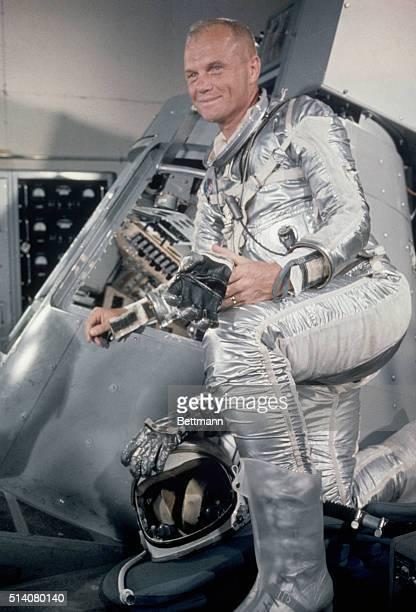 Cape Canaveral FLORIGINAL CAPTION READS Lt Col John Glenn standing beside a Mercury capsule