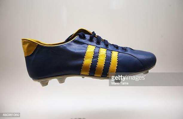 A 1970era cleat is displayed in the Museum of Football on June 10 2014 in Sao Paulo Brazil The museum is housed inside the famed Pacaembu Stadium and...