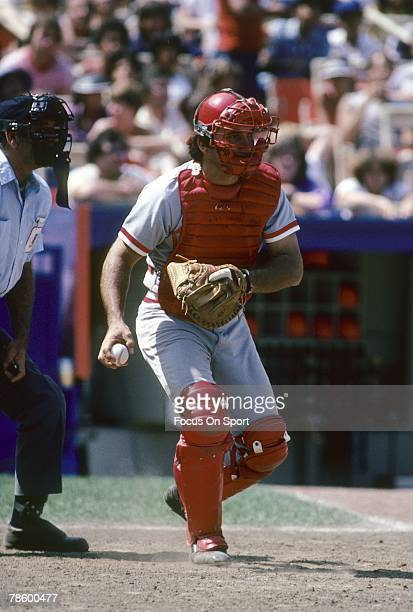 Catcher Johnny Bench of the Cincinnati Reds prepares to throw the ball back to the pitcher during a MLB baseball game circa mid 1970s Bench played...
