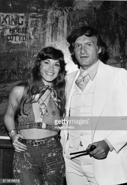 Hugh Hefner and Barbi Benton photographed at the Playboy Club in New York City circa 1970s