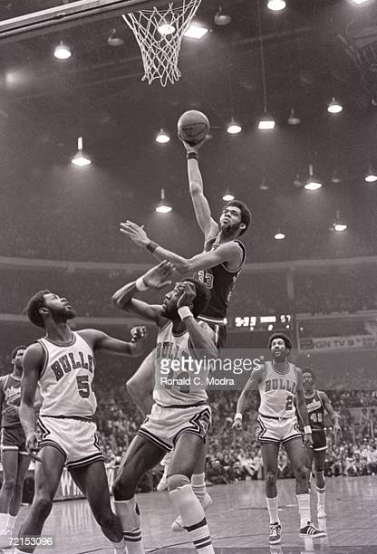 Kareem AbdulJabbar of the Milwaukee Bucks shoots the ball against the Chicago Bulls in a game in the 1970s in Milwaukee Wisconsin