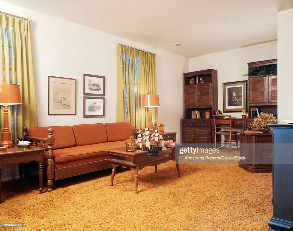 1970s LIVING ROOM WITH... : Stock Photo