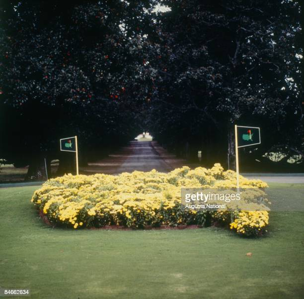 Magnolia Lane with Founders Circle in the foreground during a 1970s Masters Tournament at Augusta National Golf Club in Augusta Georgia