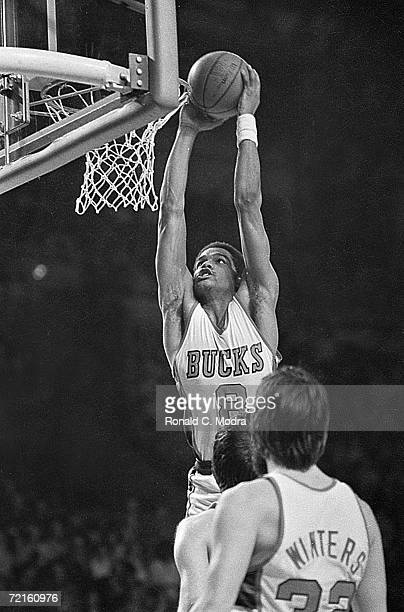 Marques Johnson of the Milwaukee Bucks shoots the ball in a game in the 1970s in Milwaukee Wisconsin