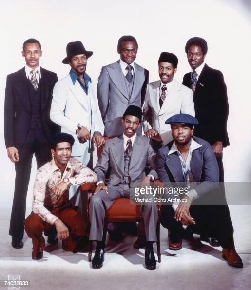 RB group 'Kool the Gang' pose for a mid 1970's portrait at the Kriegsmann studios in New York City Robert Bell on bass and Ronald Bell on tenor...