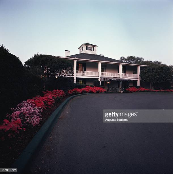 View of the Clubhouse from Magnolia lane during a 1970s Masters Tournament at Augusta National Golf Club in April of the 1970s in Augusta Georgia