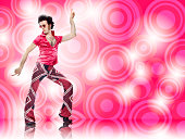 1970s vintage pink man with sunglasses disco dance move