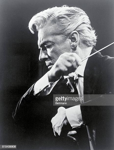 Profile closeup with baton Herbert Von Karajen Berlin Philharmonic Orchestra