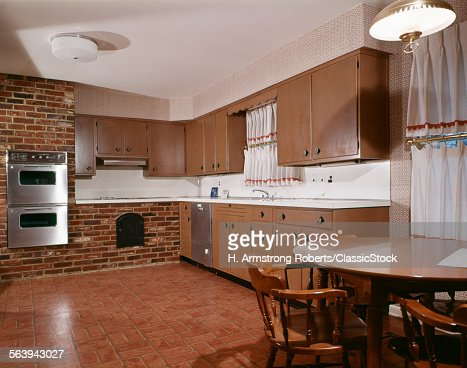 1980s kitchen with dark stock photo getty images for 1980 kitchen cabinets