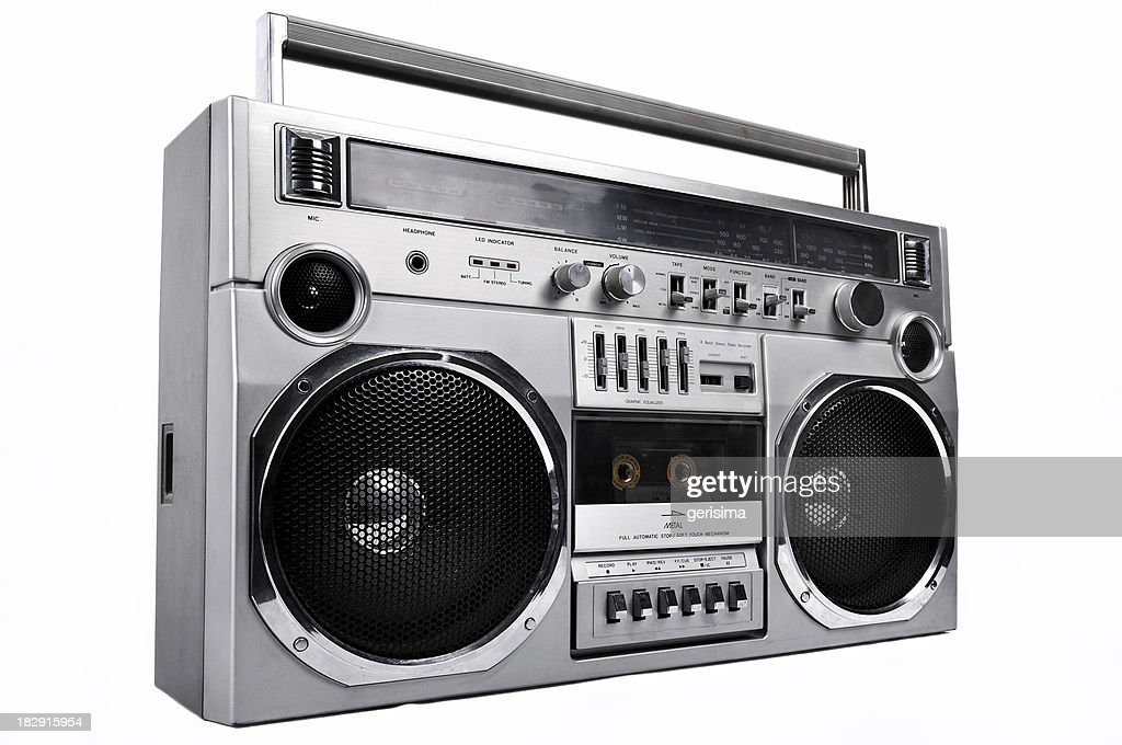 1980s Silver radio boom box  isolated on white. left