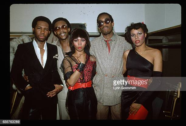 1981The dance group Chic are shown apparently backstage in this waistup photograph