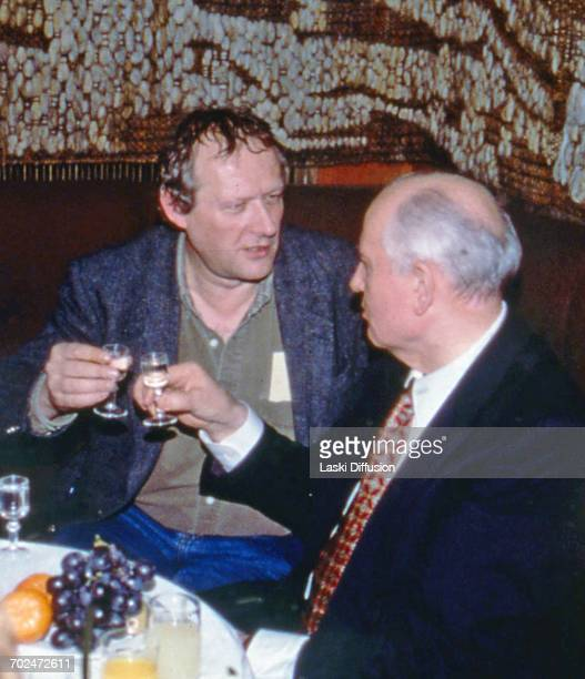 former President of the Soviet Union Mikhail Gorbachev and editor in chief of the Polish newspaper 'Gazeta Wyborcza' Adam Michnik in Warsaw Poland...