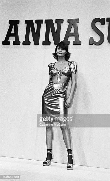 Helena Christensen on runway at Anna Sui fashion show in the mid 1990s in New York City New York