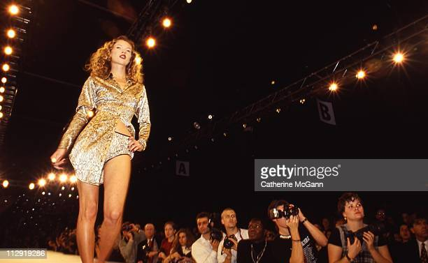 Kate Moss walks the runway at a Todd Oldham fashion show in the mid 1990s in New York City New York