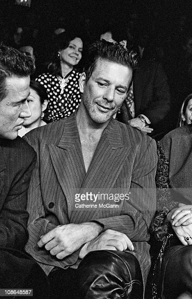 Mickey Rourke at Oscar De La Renta Fashion Show in the mid 1990s in New York City New York