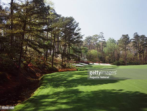 The second shot view of the 13th green during a 1990s Masters Tournament at Augusta National Golf Club in Augusta Georgia