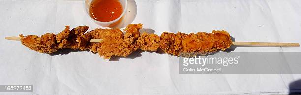 AUG 19th 2011pics of fried chicken tenders food on sticks at CNEto go with Jennifer Bain story about everything from mars bars to slouvaki on a stick