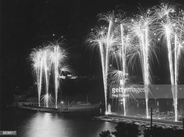A firework display in Monte Carlo to commemorate the wedding of Prince Rainier and Grace Kelly