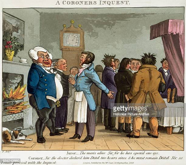 19th Century British Illustration Entitled A Coroner's Inquest