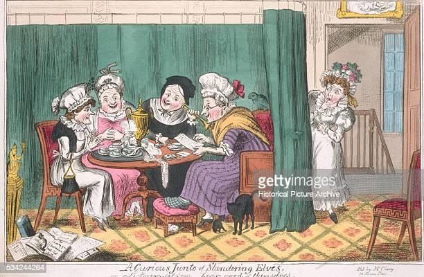 19th Century British Illustration Entitled A Curious Junto of Slandering Elves