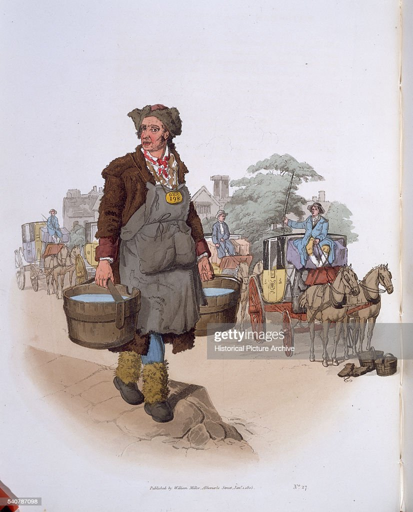 19th Century English Print of a Water Carrier at a Coaching Station