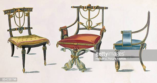 19th Century European Print Depicting Chairs with Nautical Motifs