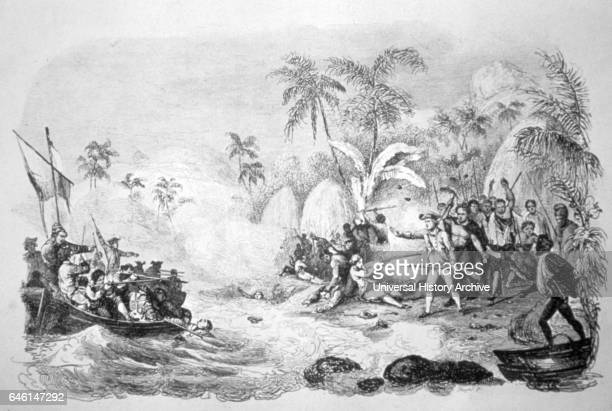 19th century illustration showing the death of Captain James Cook Cook was a British explorer navigator cartographer and captain in the Royal Navy...