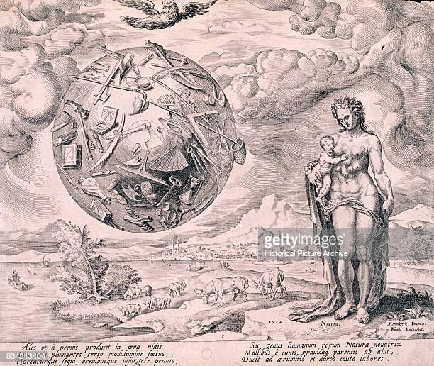 19th Century Italian Engraving Illustrating the Relationship Between Humanism and Nature
