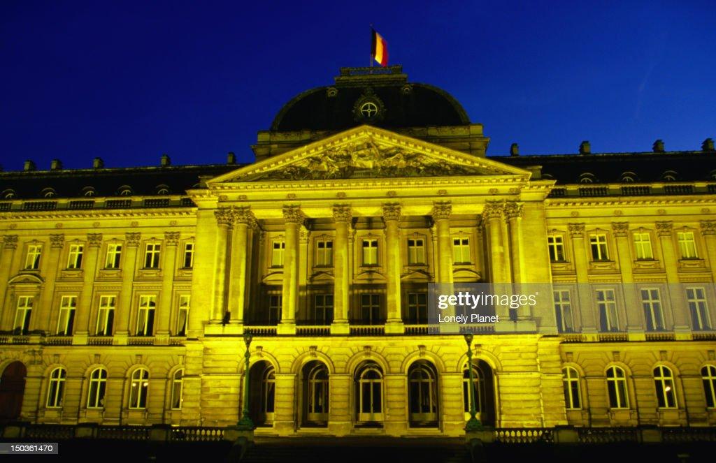 19th century Palais Royal (Royal Palace) in Brussels at twilight.
