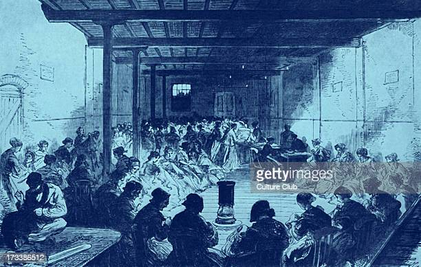 19th century sewing class for Mansion House Relief Committee in Berner Street London 1868 Women paid twopence an hour or ninepence for a day's work...