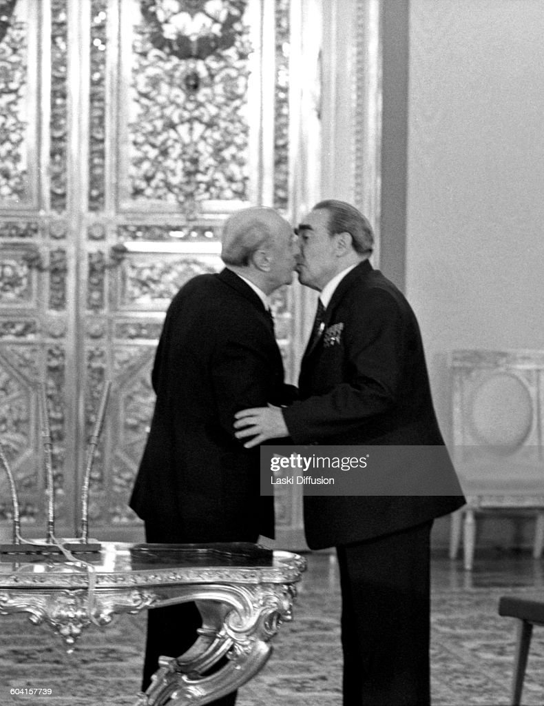 Celebrations of <a gi-track='captionPersonalityLinkClicked' href=/galleries/search?phrase=Leonid+Brezhnev&family=editorial&specificpeople=93686 ng-click='$event.stopPropagation()'>Leonid Brezhnev</a>'s 75th birthday in Saint Catherine's Hall at the Great Kremlin Palace, Moscow, USSR, on 19th December 1981. Pictured from the left: Hungarian head of state <a gi-track='captionPersonalityLinkClicked' href=/galleries/search?phrase=Janos+Kadar&family=editorial&specificpeople=220957 ng-click='$event.stopPropagation()'>Janos Kadar</a>, leader of the Soviet Union <a gi-track='captionPersonalityLinkClicked' href=/galleries/search?phrase=Leonid+Brezhnev&family=editorial&specificpeople=93686 ng-click='$event.stopPropagation()'>Leonid Brezhnev</a>.